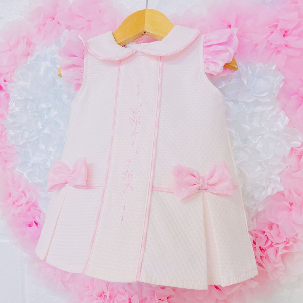 *SALE* Beautiful Baby Girl Pink Spanish Dress Embroidered Detail